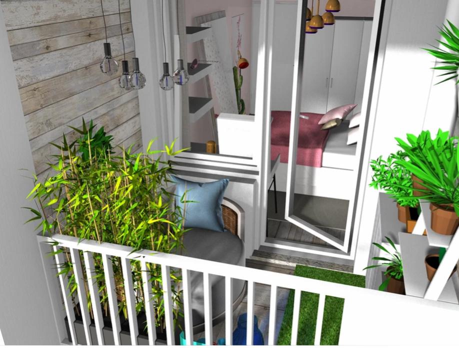 Balkon z kącikiem wypoczynkowym