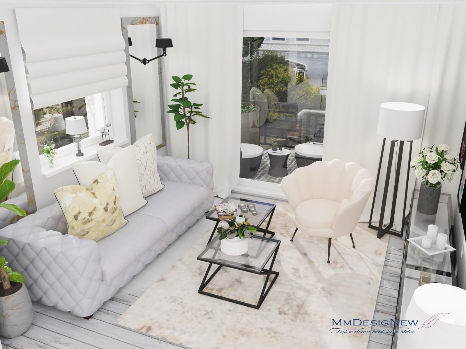 Kremowo-biały salon