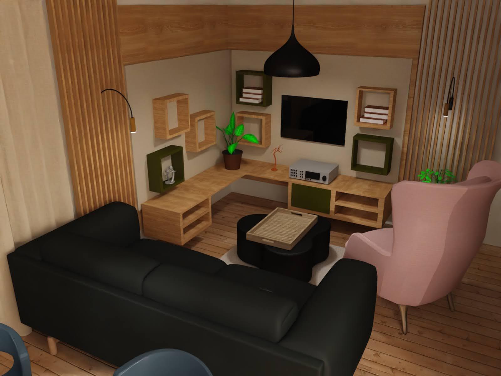 Salon z różowym fotelem