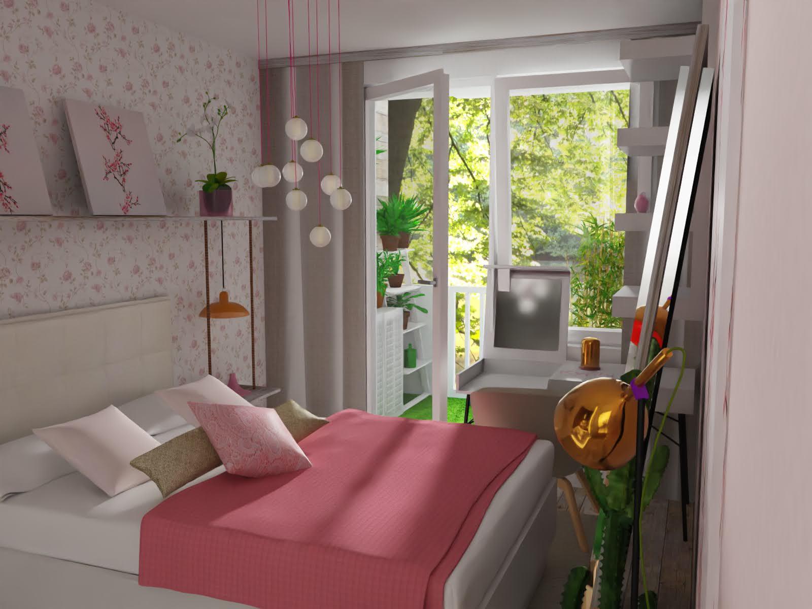 Damska sypialnia z balkonem