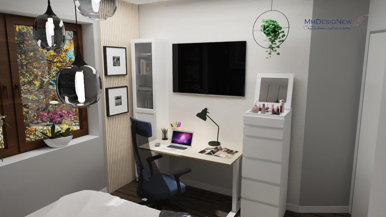 Home office z komodą