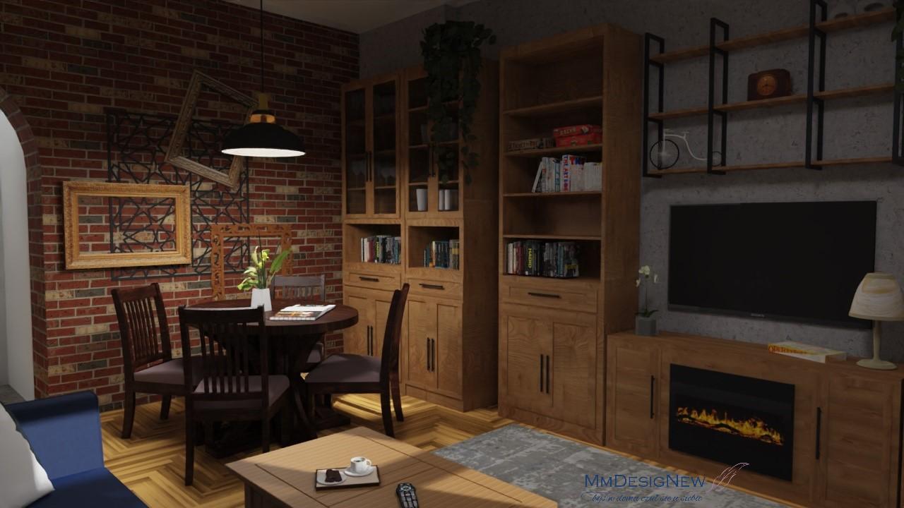 Stół przy ceglanej ścianie