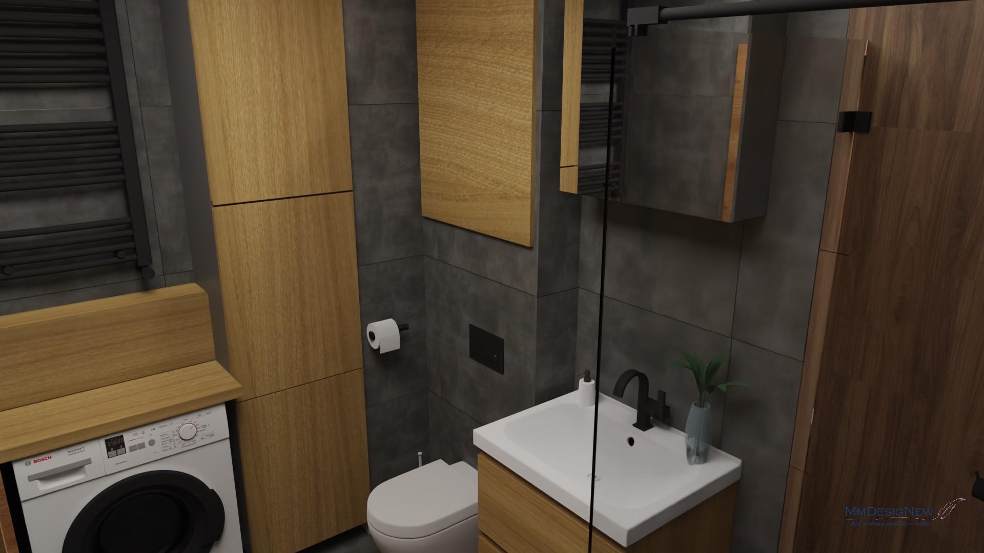 Drewno z betonem w łazience