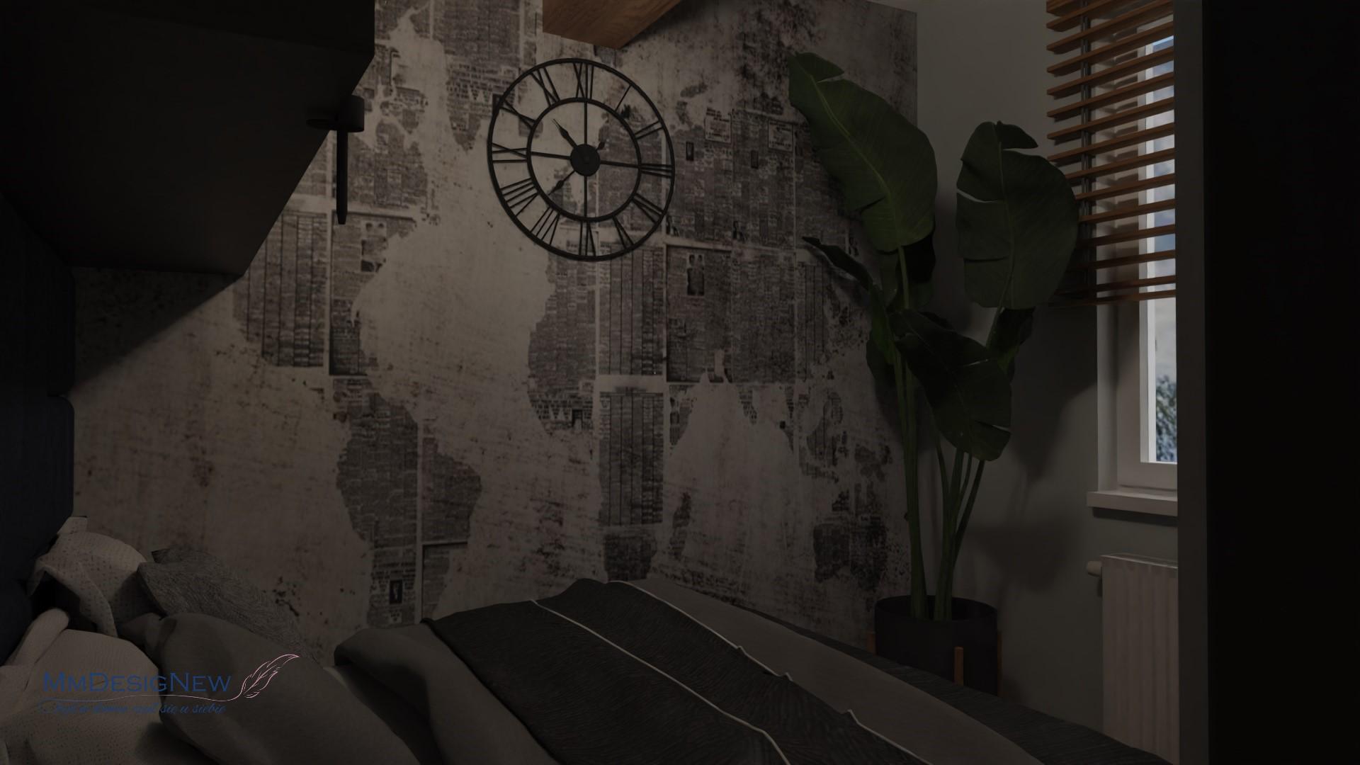 Zegar i fototapeta w sypialni