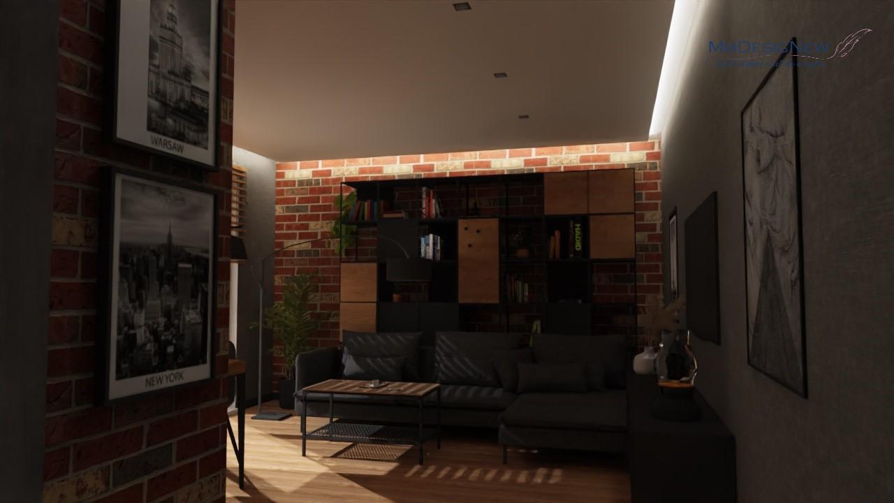 Salon z cegłą